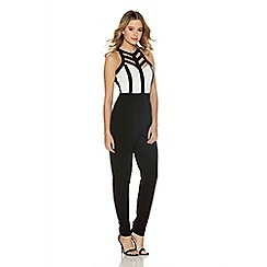 Quiz - Cream And Black Lattice Crepe Jumpsuit