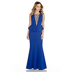 Quiz - Royal Blue Crepe Diamante Trim Fishtail Maxi Dress