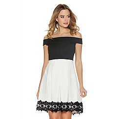 Quiz - Black And Cream Pleated Bardot Skater Dress