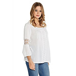 Quiz - White Pleated Crochet 3/4 Sleeve Top