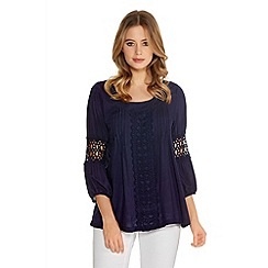 Quiz - Navy Pleated Crochet 3/4 Sleeve Top