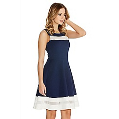 Quiz - Navy And Cream Mesh Skater Dress
