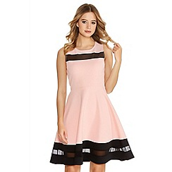 Quiz - Pink And Black Mesh Skater Dress