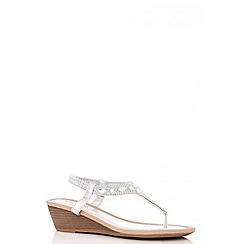 Quiz - Silver Oval Diamante Low Heel Wedges