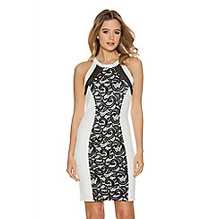 Quiz - Cream And Black Lace Front Panel Bodycon Dress