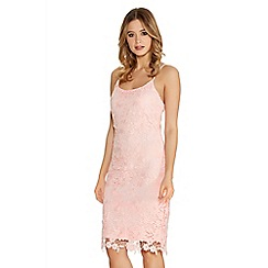 Quiz - Pink Crochet Lace Strap Midi Dress