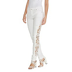 Quiz - White Denim Crochet Skinny Jeans