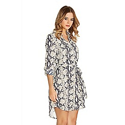 Quiz - Cream Snake Print Shirt Dress
