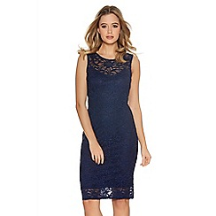 Quiz - Navy Glitter Lace Sweetheart Neck Dress