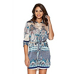 Quiz - Stone And Turquoise Tile Print Button Shirt Dress