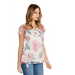 Quiz - White And Pink Flower Mesh Sequin Top
