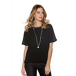 Quiz - Black Chiffon Lace Detail Necklace Top