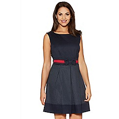 Quiz - Navy Polka Dot Panel Skater Dress
