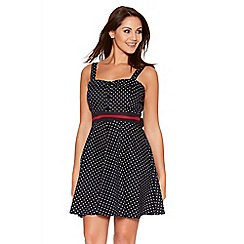 Quiz - Navy Polkadot Strap Bow Back Dress