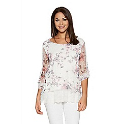 Quiz - White And Pink Mesh Flower Print Lace Tp