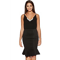 Quiz - Black Fishtail Midi Skirt
