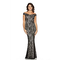 Quiz - Black Satin Lace Off Shoulder Fishtail Maxi Dress
