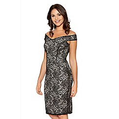 Quiz - Black And Stone Lace Bodycon Dress