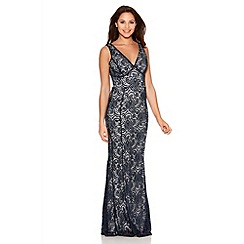 Quiz - Navy And Cream Swirl Lace V Neck Fishtail Maxi Dress