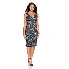 Quiz - Navy And Cream Swirl Lace V Front Midi Dress