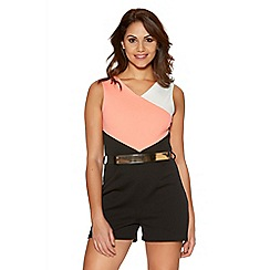 Quiz - Coral Gold Belt Panel Playsuit
