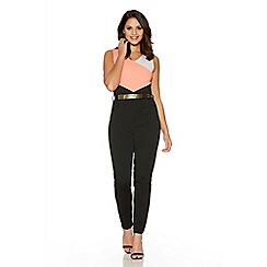 Quiz - Coral Contrast Panel Gold Belt Jumpsuit