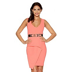 Quiz - Coral V Neck Peplum Bodycon Dress