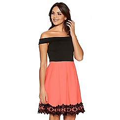 Quiz - Black And Coral Bardot Skater Dress