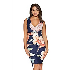 Quiz - Navy Marcella Flower Print Peplum Dress