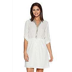 Quiz - White Crepe Roll Sleeve Tunic