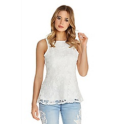 Quiz - White Crochet Lace Peplum Top