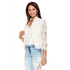 Quiz - White Lace Crochet 3/4 Sleeve Crop Jacket