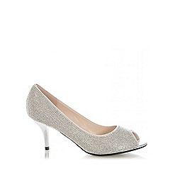 Quiz - Silver Diamante Peep Toe Low Heel Court Shoes