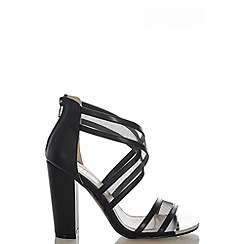 Quiz - Black Mesh Strap Block Heel