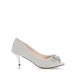 Quiz - Silver Shimmer Brooch Low Heel Peep Toes