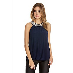 Quiz - Navy Bubble Diamante Trim Top