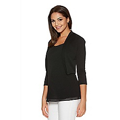Quiz - Black 3/4 Sleeve Crop Jacket
