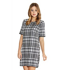 Quiz - Grey Check PU Trim Dress