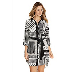 Quiz - Black And Cream Crepe Long Sleeve Print Shirt Dress