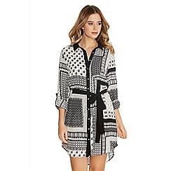 Quiz - Black And Cream Crepe Long Sleeve Print Shirt Dress