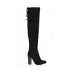 Quiz - Black Faux Suede Tie Heel Boots