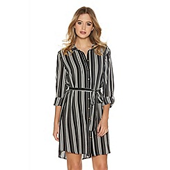 Quiz - Black And Cream Crepe Pinstripe Belt Shirt Dress