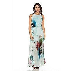 Quiz - Aqua Flower Print Chiffon Maxi Dress