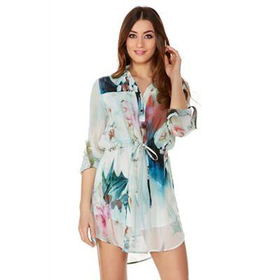 Quiz Aqua Chiffon Flower Print Shirt Dress