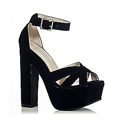 Quiz - Black Faux Suede  Cross Front Platform Sandals