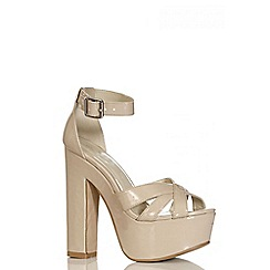 Quiz - Nude Patent Cross Front Platform Sandals