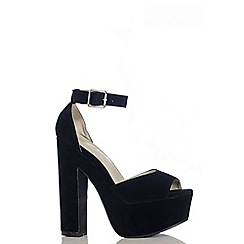 Quiz - Black Faux Suede Strap Platform Sandals
