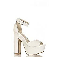 Quiz - White PU Ankle Strap Sandals