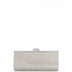 Quiz - Silver Diamante Clasp Clutch Bag