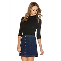 Quiz - Blue Denim A Line Button Skirt